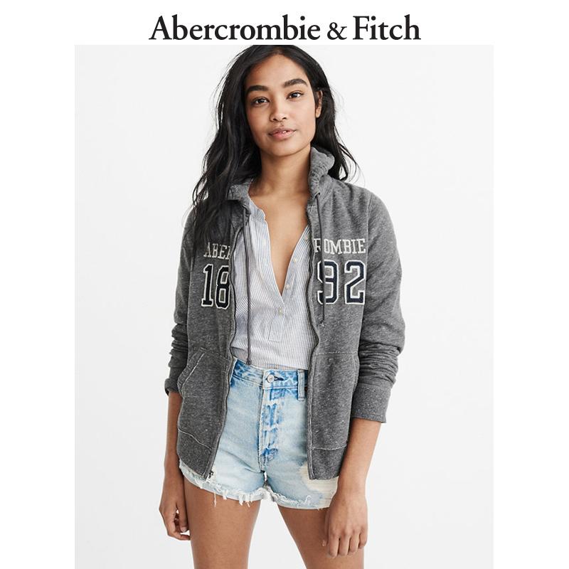 季末特惠Abercrombie&Fitch女装 Logo 款全拉链帽衫 200751 AF