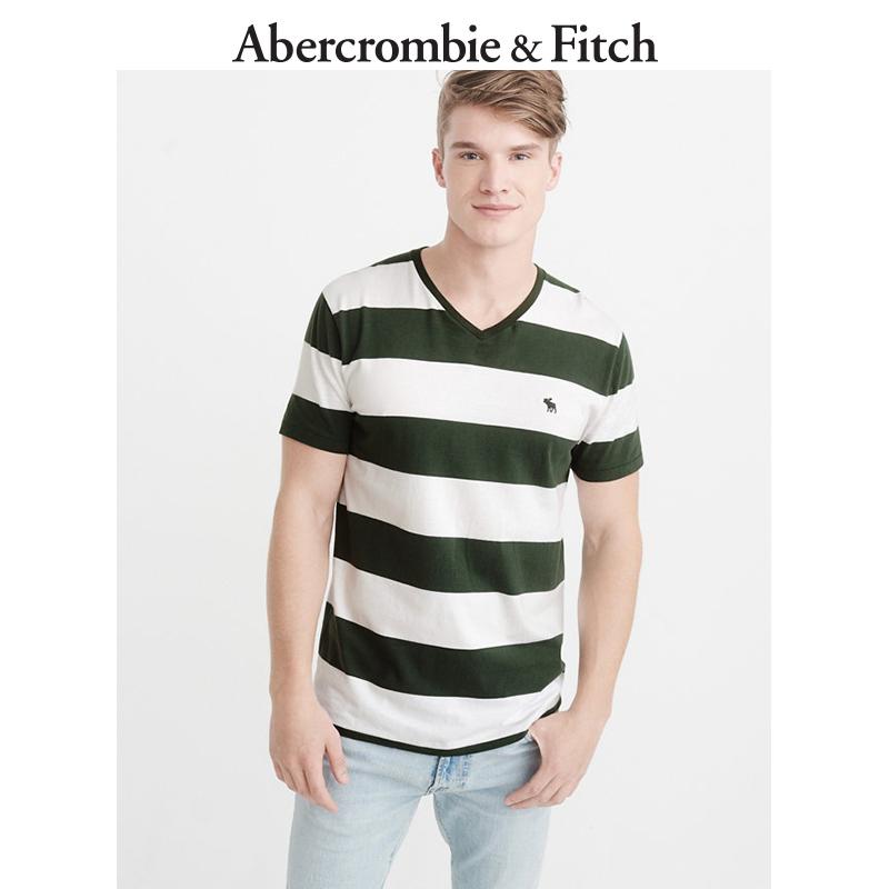 季末特惠Abercrombie&Fitch男装 标识款条纹 V 领T恤 197900 AF