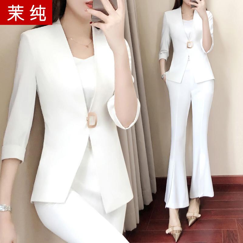 职业装套装女2018新款时尚韩版修身白色小西装套装气质正装工作服