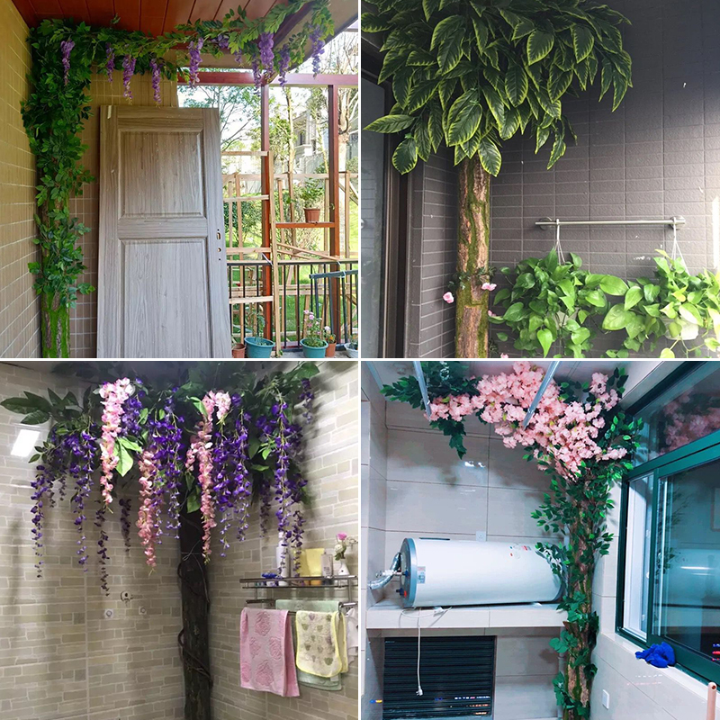 Simulation bark under the water pipe decoration package pillar heating pipe cover fake flower rattan indoor fake tree balcony plant
