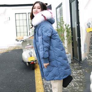 棉衣女中长款冬季新款加厚刺绣棉袄外套宽松大毛领雾霾蓝羽绒棉服