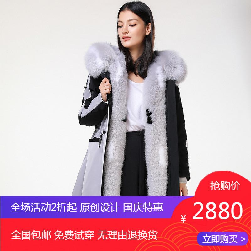 QUAKERAME冬季休闲派克服女户外运动皮草外套女中长款尼克服大衣