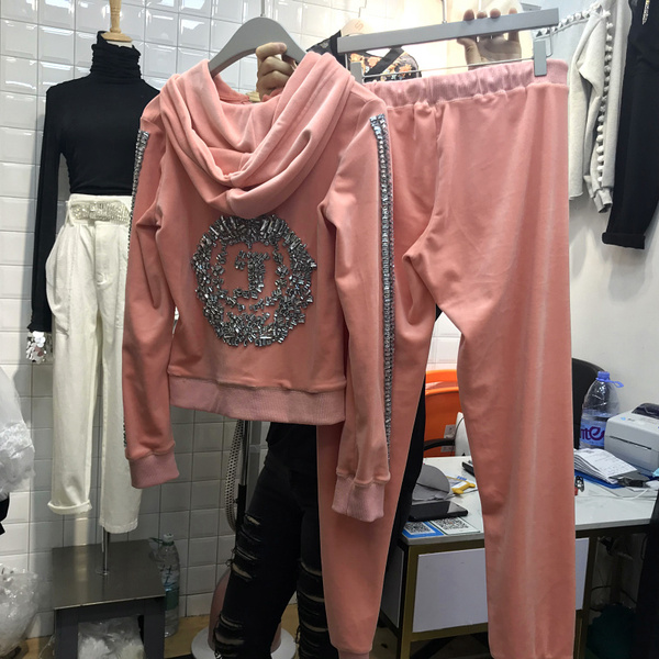 Real Shot Korea Dongdaemun Loose Letter Diamond Long-Sleeved Hooded Jacket Trousers Two-Piece Suit Sportswear Tide Card