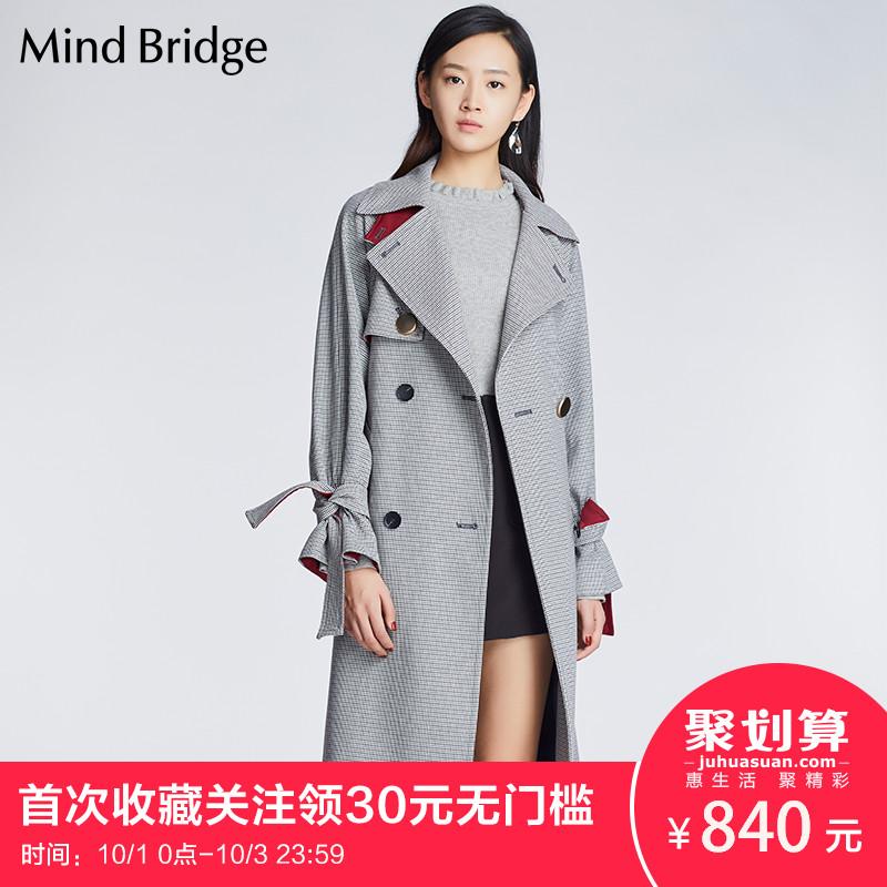 Mind Bridge百家好2018新品女装韩版修身中长款风衣大衣 MSCA128B