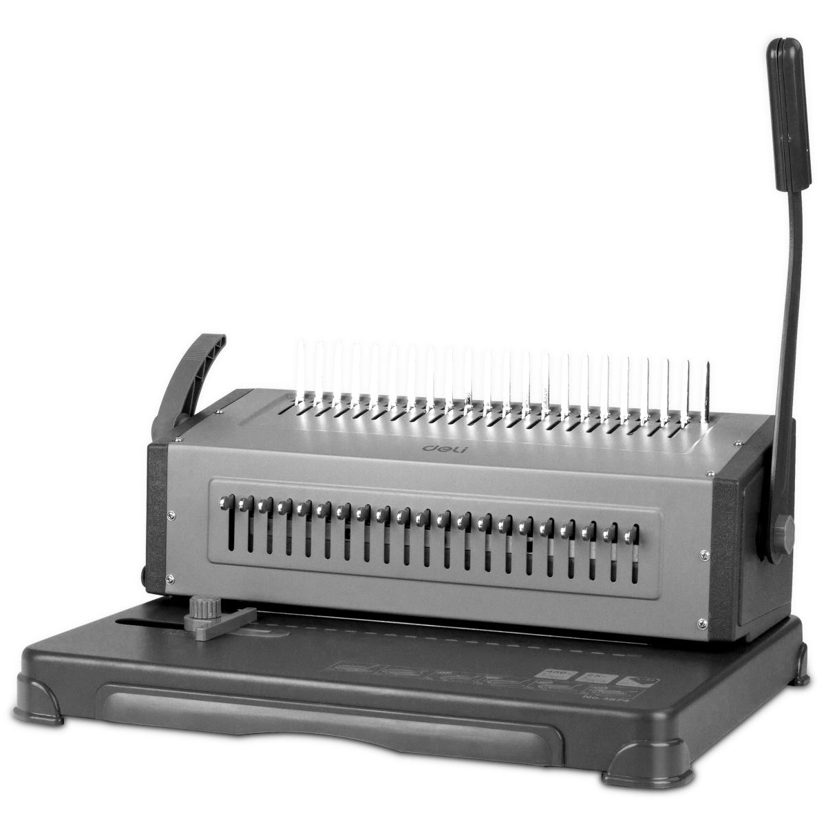 得力3874夹条胶圈装订机 梳式打孔机 财务办公标书文件装订机