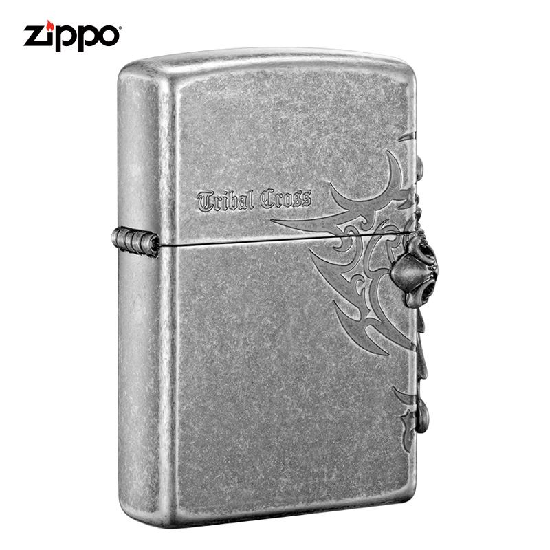 zippo打火机正版 美国原装进口 侧十字仿古银|ZBT-1-33b