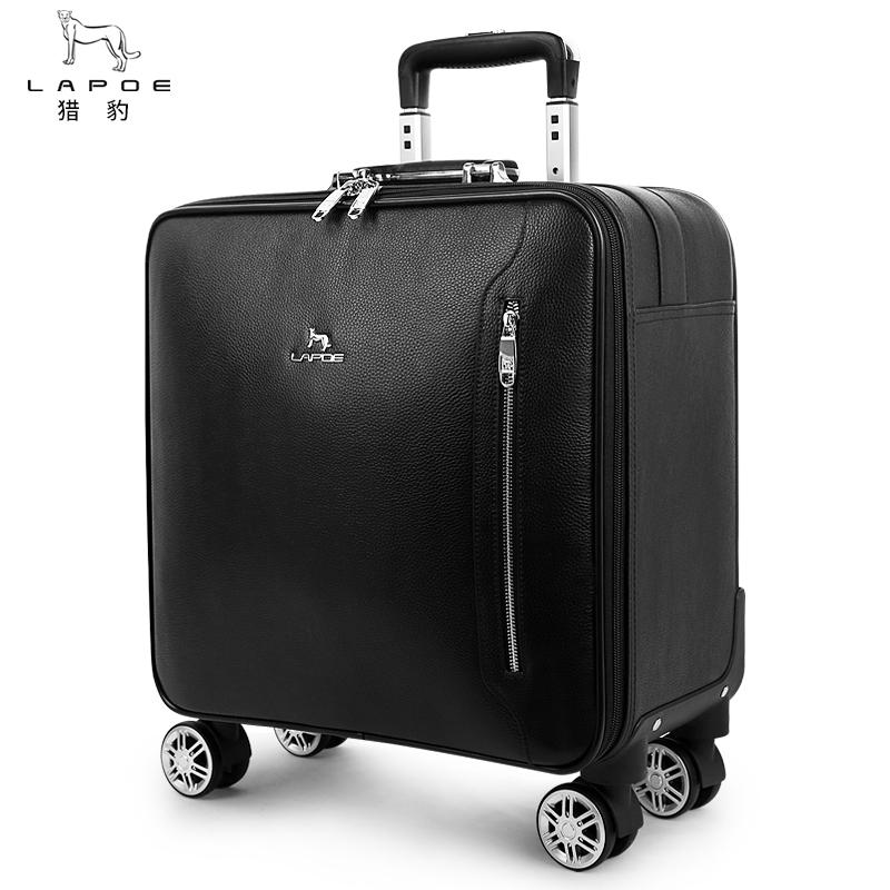 猎豹真皮拉杆箱女20寸商务登机箱旅行箱16寸行李箱男密码箱皮箱子