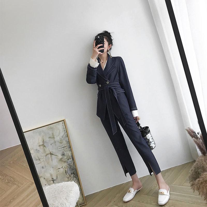 2018新款秋装韩版名媛小香风休闲两件套英伦风西装套装女时尚秋季