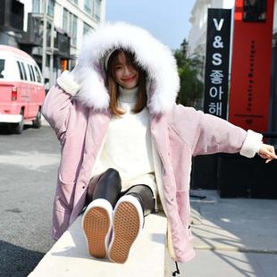 冬装新款韩版灯芯绒大毛领棉服女中长款宽松棉衣oversize学生外套