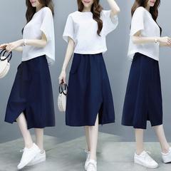 两件套棉麻连衣裙女夏季中长款2019新款胖mm遮肚显瘦亚麻套装裙子