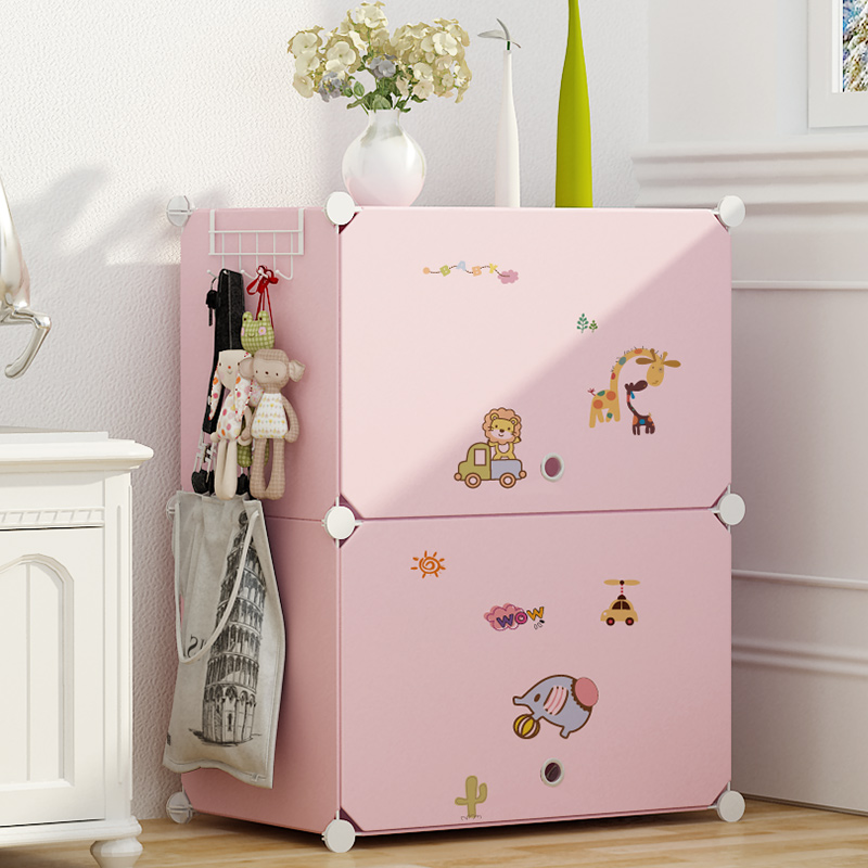 Plastic small mini simple college student economic storage cabinet combination cartoon single dormitory with small wardrobe