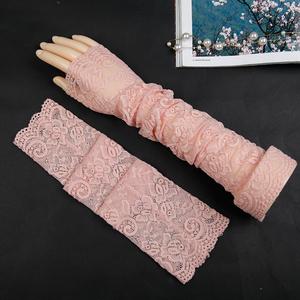 时尚自行车夏季防晒手袖护臂长款女士蕾丝冰丝凉席手套遮纹身袖套