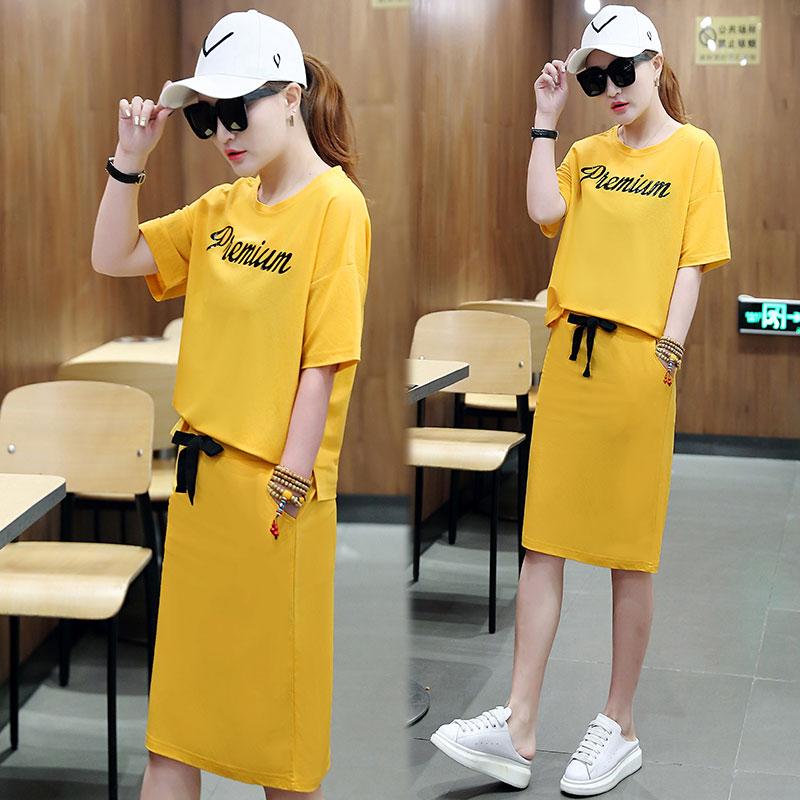 休闲套装裙女夏季2018新款短袖时髦韩版时尚运动卫衣裙两件套装潮