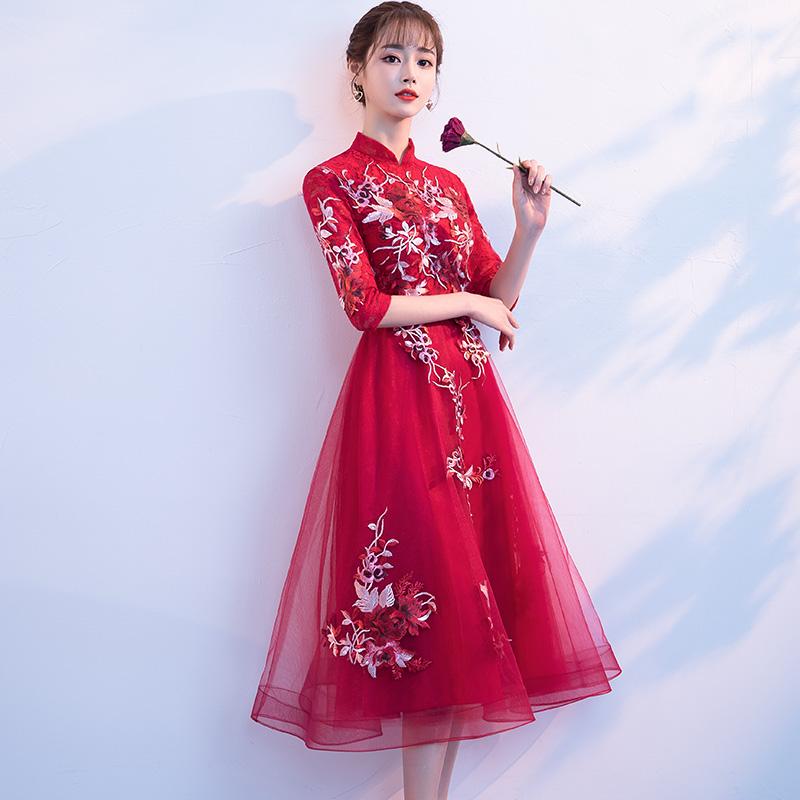 敬酒服新娘2018结婚新款中长款红色中国风修身立领回门晚礼服秋季