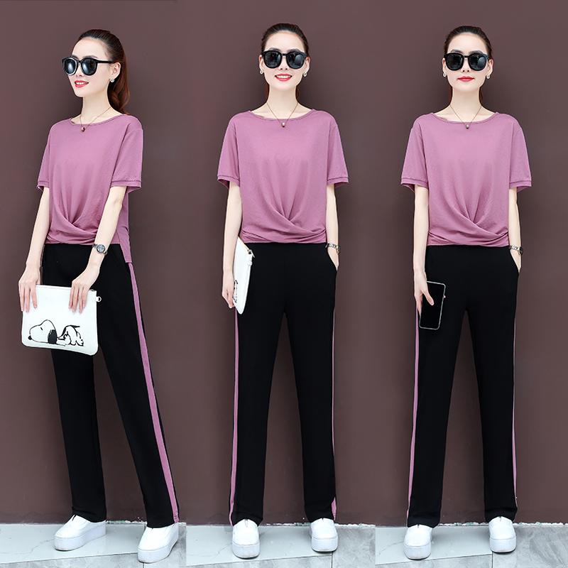 纯棉2020套装女春装韩版时尚修身显瘦运动休闲洋气阔腿裤两件套夏
