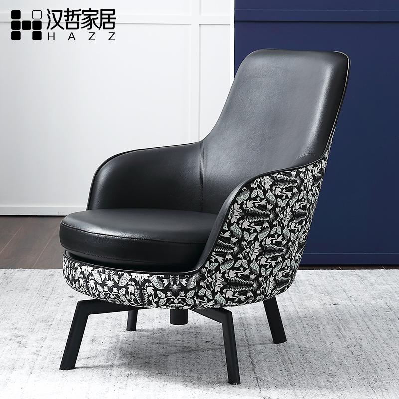 汉哲北欧皮艺休闲转椅沙发客厅阳台现代简约布艺单人旋转沙发椅子