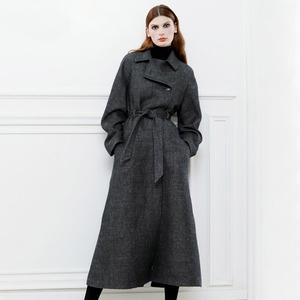 哈黛2018冬季新款时尚翻领复古简约显瘦气质毛呢大衣系带呢子外套