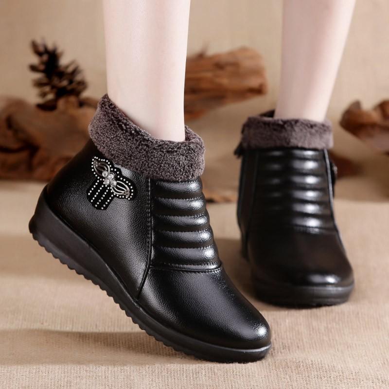 真皮奶奶棉鞋女冬老人加绒防滑保暖鞋防水中老年皮鞋老太太妈妈鞋
