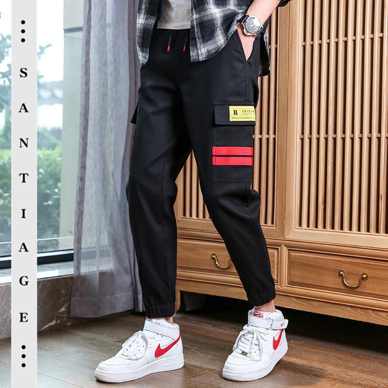 韩版潮流男士休闲裤春季束脚裤小脚