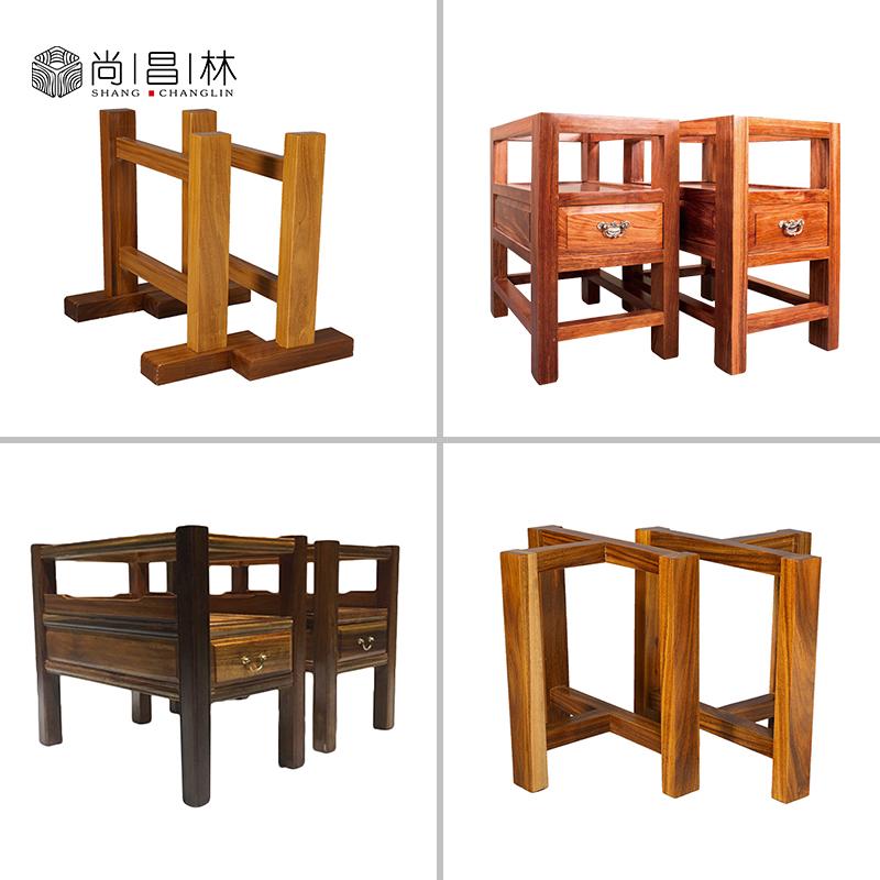 实木大板桌支架老板办公桌柜子式单双抽屉脚架茶桌腿脚架巴花奥坎