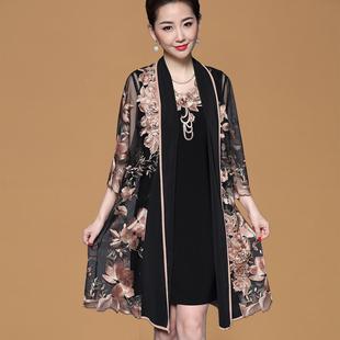 中年妇女过膝连衣裙夏装2019新款高贵洋气中老年大码两件套妈妈装