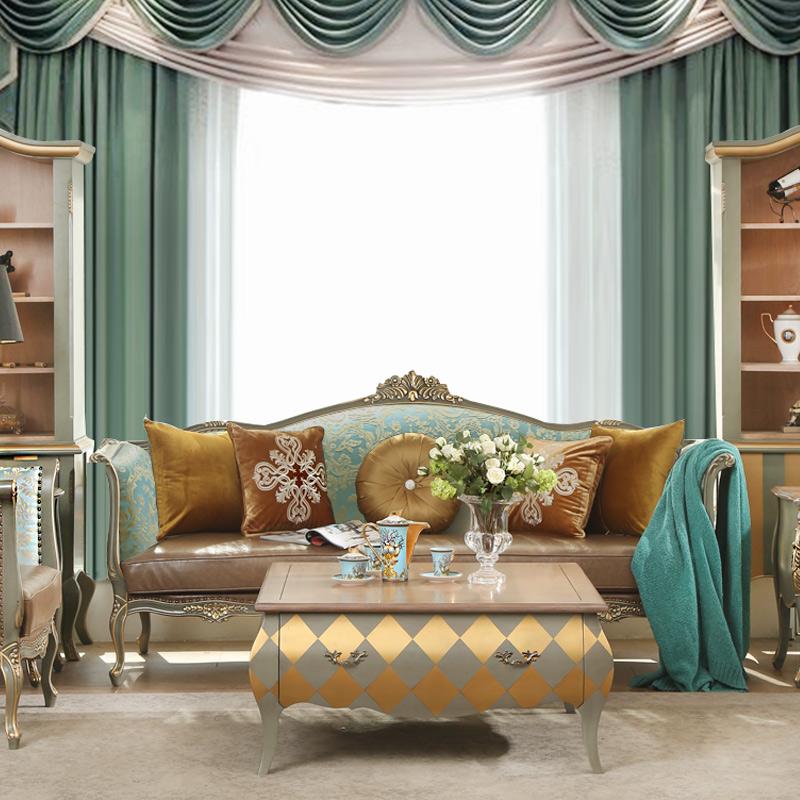 法美家 欧式全实木沙发三人位客厅组合整装 法式新古典雕花单椅