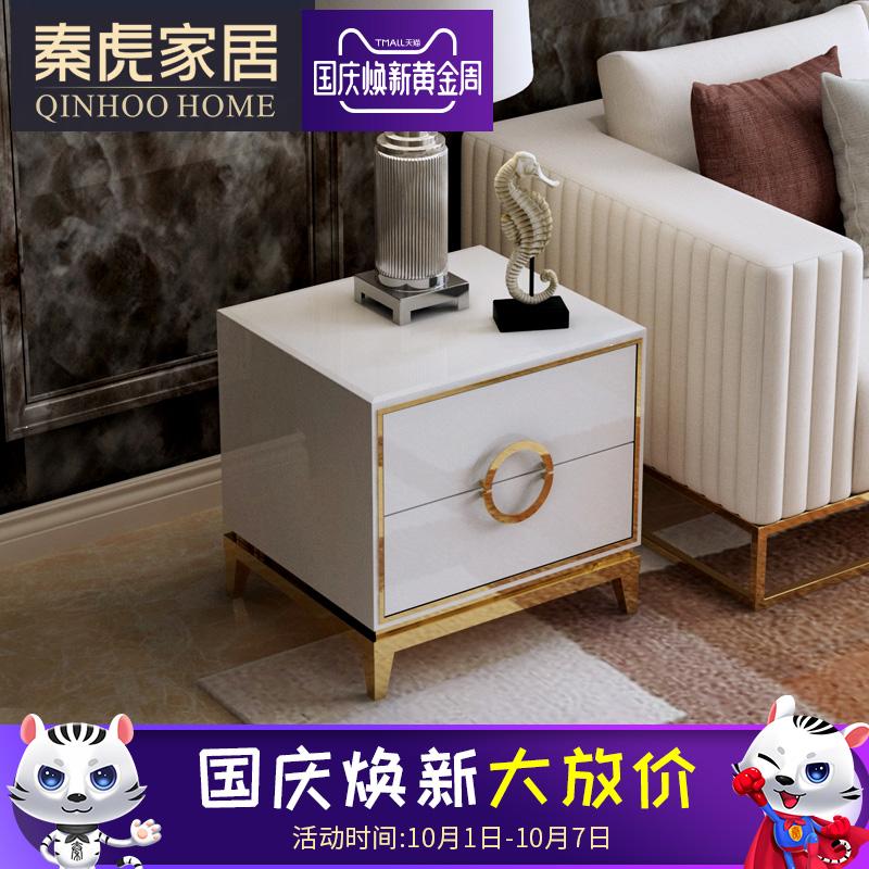秦虎家具 现代简约客厅边柜沙发边几轻奢储物柜角几烤漆床头柜