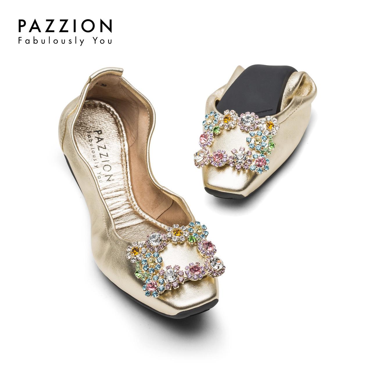 PAZZION2018春夏舒适休闲懒人鞋女 潮流方头彩钻方扣平底鞋折叠鞋