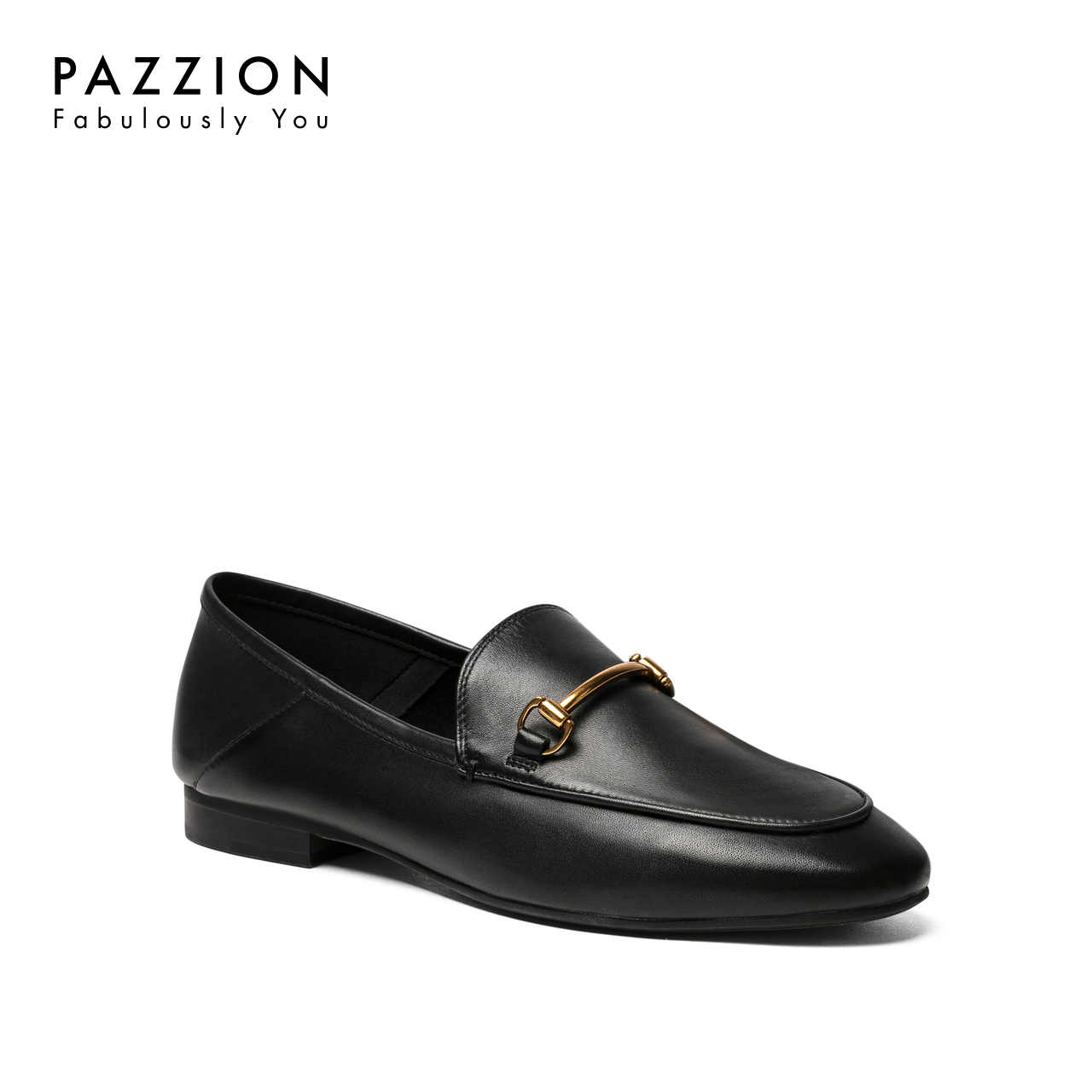 PAZZION2018秋季新款欧美舒适牛皮粗跟单鞋 休闲圆头马衔扣乐福鞋