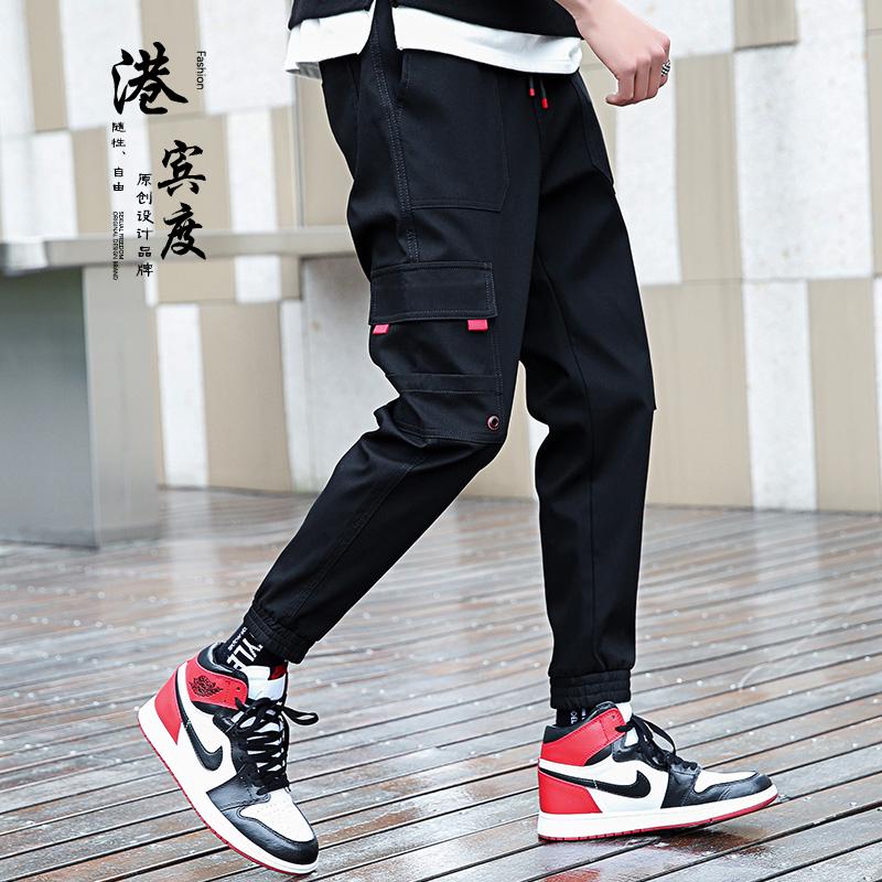 【港宾度】潮牌百搭直筒运动束脚休闲工装裤