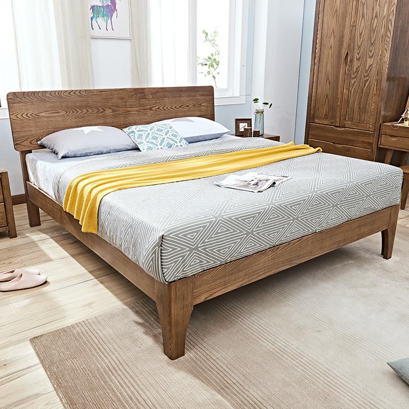 现代简约北欧风格全实木床1.8米日式双人主卧床1.5白蜡木网红床