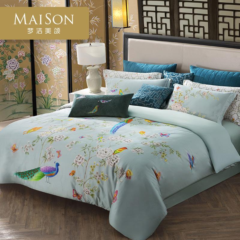 梦洁家纺出品美颂长绒棉数码印花四件套孔雀绫新中式床品纯棉套件