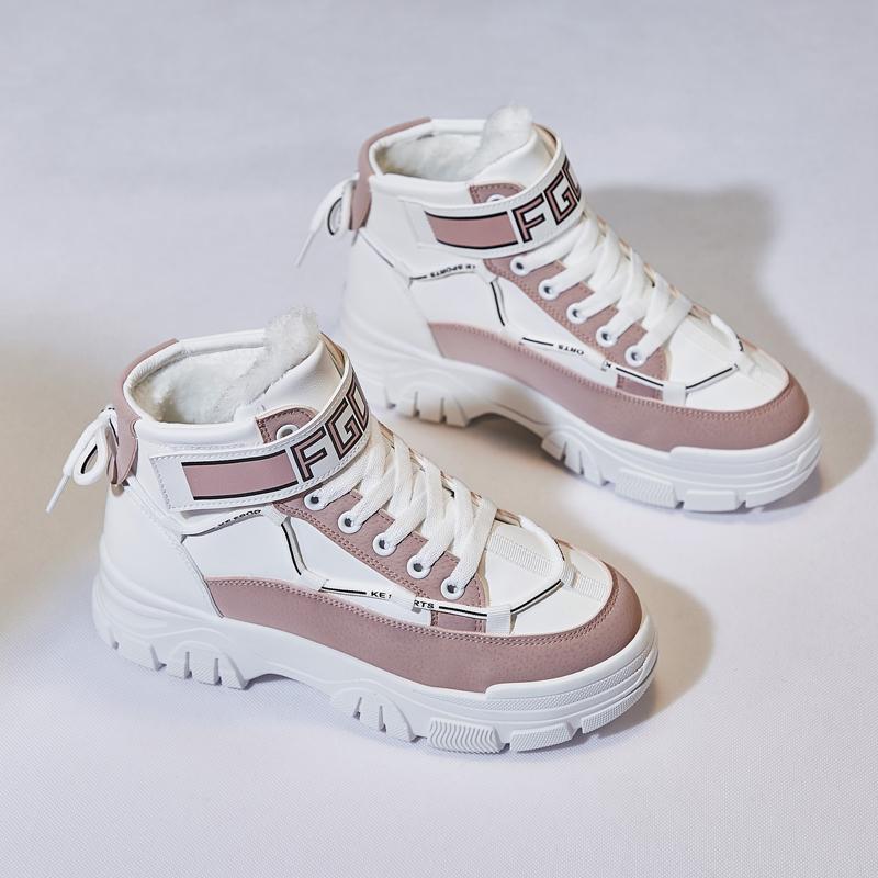 2020新款马丁靴女英伦风冬季加绒厚底百搭休闲增高加厚保暖棉鞋