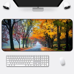 家用风景鼠标垫超大号90x40锁边加厚办公可爱笔记本电脑写字桌垫
