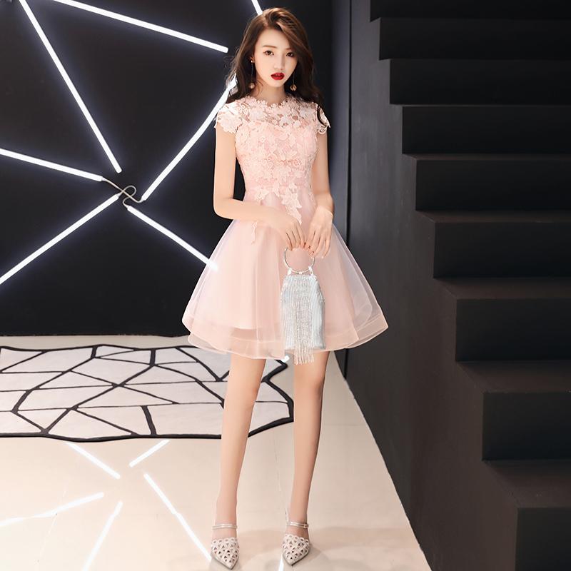 洋装小礼服女2018新款宴会显瘦短款名媛小香风伴娘连衣裙公主粉色