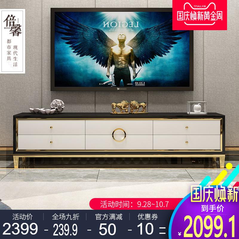 新款都市轻奢后现代电视柜客厅黑色小户型迷你收纳储物地柜经济型
