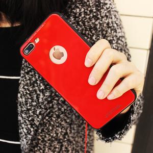 苹果7plus手机壳钢化玻璃iphone8X手机壳6plus红色大气简约挂绳女