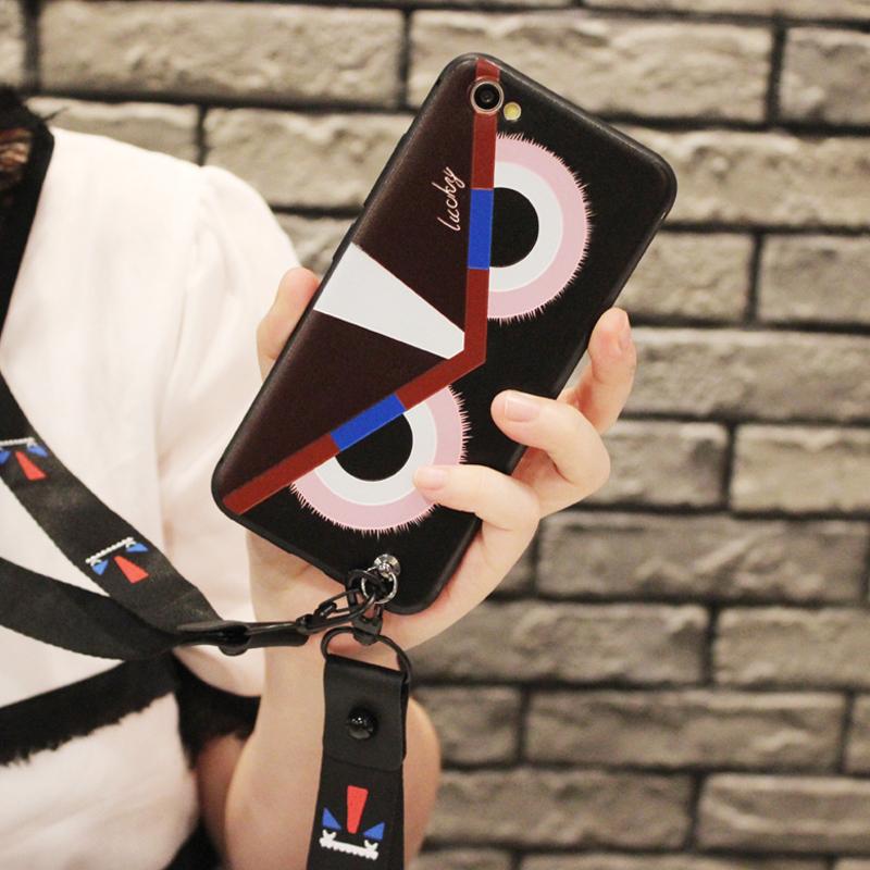 小怪兽带挂绳OPPOR9m手机壳软可爱R11s硅胶套潮r9Sk新款少女R15全包边R9SPLUS保护壳磨砂A83个性创意