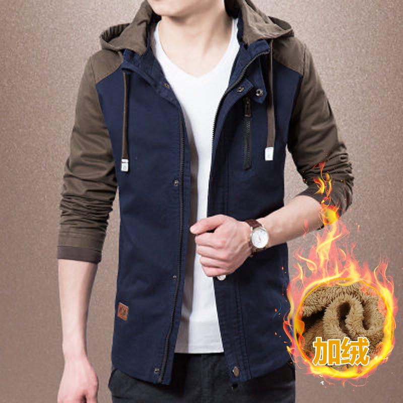 2018新款潮流男士中长款夹克衫韩版加绒帅气机车服运动户外型外套