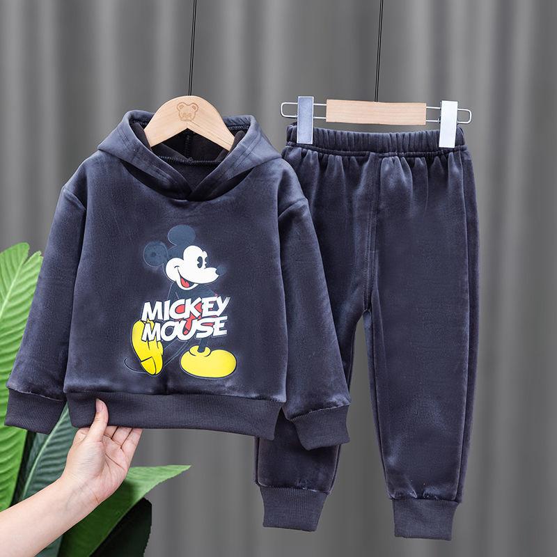 翰安柏金貂绒套装秋冬加绒加厚上衣加裤子两件套女童冬季套装潮