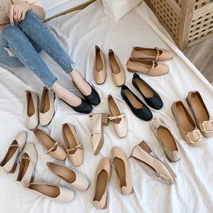 女鞋2019新款春秋奶奶鞋粗跟中跟单鞋韩版百搭平底ins四季豆豆鞋