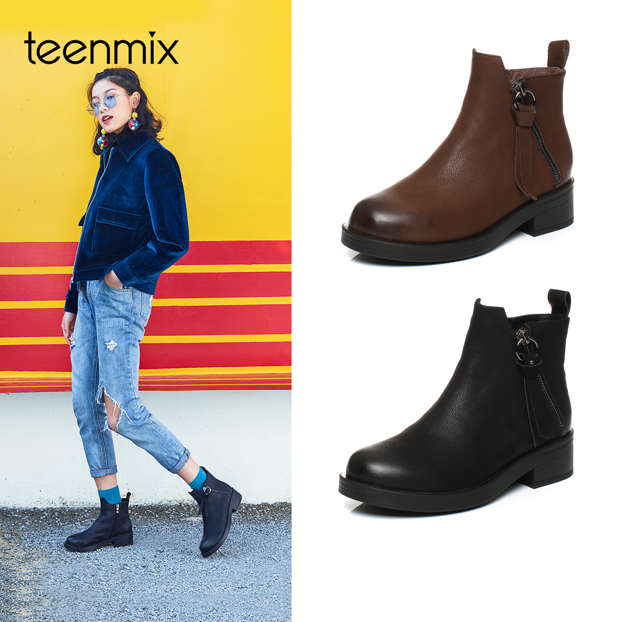 Teenmix-天美意冬专柜同款牛皮时尚简约素雅女短靴AQ371DD7