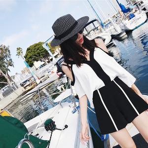 2018夏季新款女装心机港风洋气短裤两件套bf矮个子小清新漏肩套装