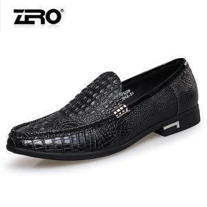 Zero零度春夏男鞋鳄鱼纹正装皮鞋头层牛皮真皮透气尖头套脚鞋子