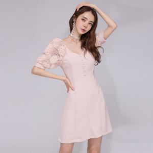 3686#2020韩版性感花朵蕾丝露肩修身连衣裙高档裙子