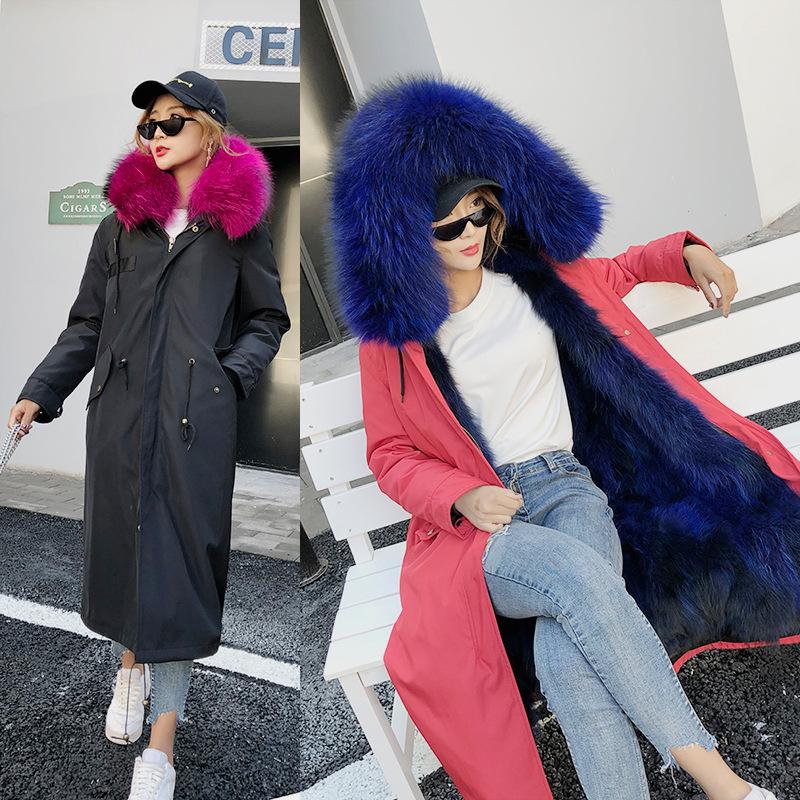 派克服女2018新款皮草狐狸貉?#29992;?#20869;胆大衣外套中长款连帽领冬保暖