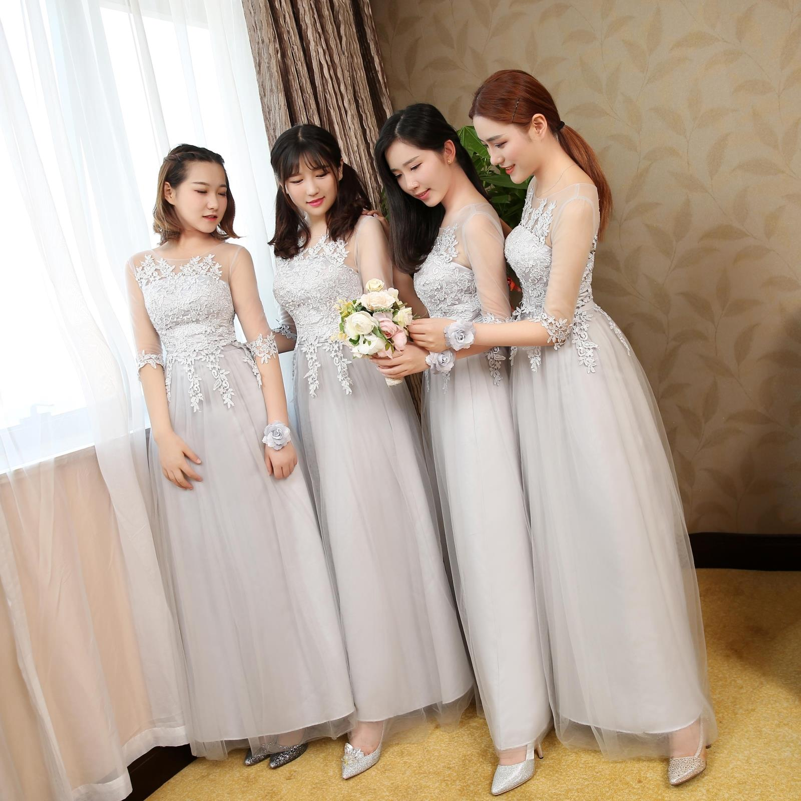 Rent 2018 summer korean version of the gray lace sisters dress skirt for rent 2018 summer korean version of the gray lace sisters dress skirt bridesmaid dress banquet slim ombrellifo Gallery