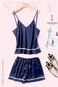 睡衣女士短袖夏季冰丝吊带短裤两件套家居装性感韩版可爱少女学生