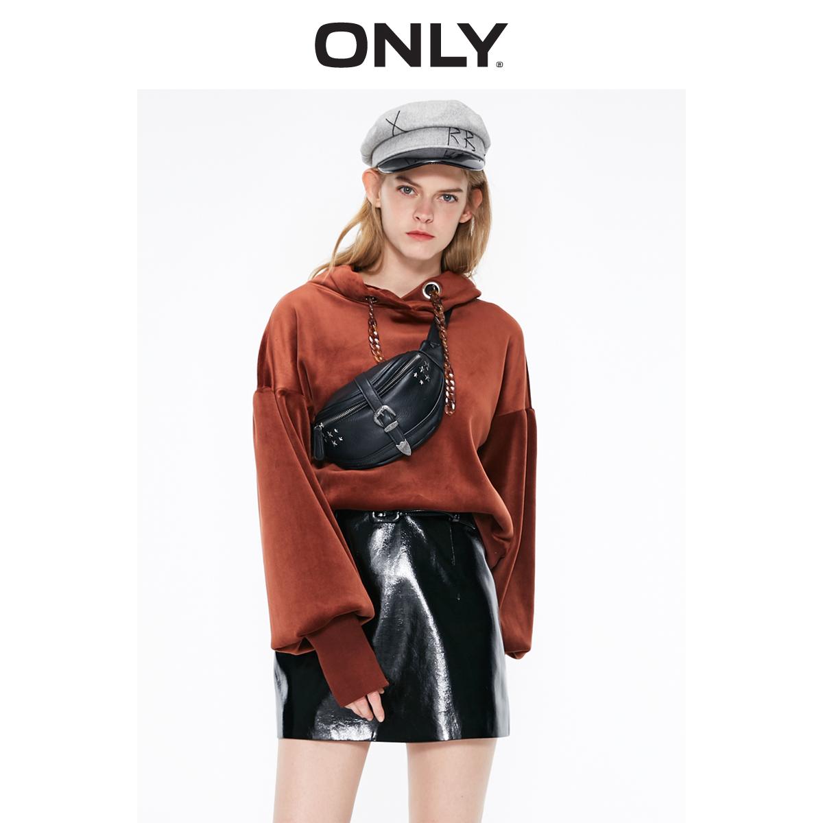 ONLY2019冬季新款纯色复古丝绒宽松连帽圆领套头卫衣女|11919S522