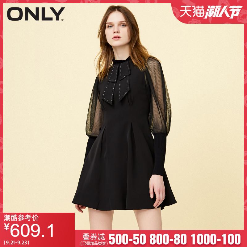 ONLY2020夏季新款修身显瘦拼接长袖赫本风a字连衣裙女 120107552